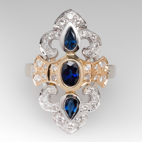 Ornate Blue Sapphire & Diamond Two-Tone 14K Gold Cocktail Ring