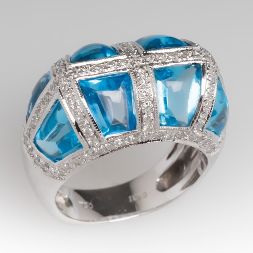 Unique Calibrè Buff Top Blue Topaz & Diamond 18K White Gold Ring