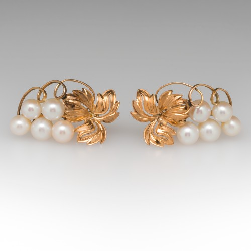 Bunch of Grape Motif Clip-On Pearl Earrings 14K Yellow Gold