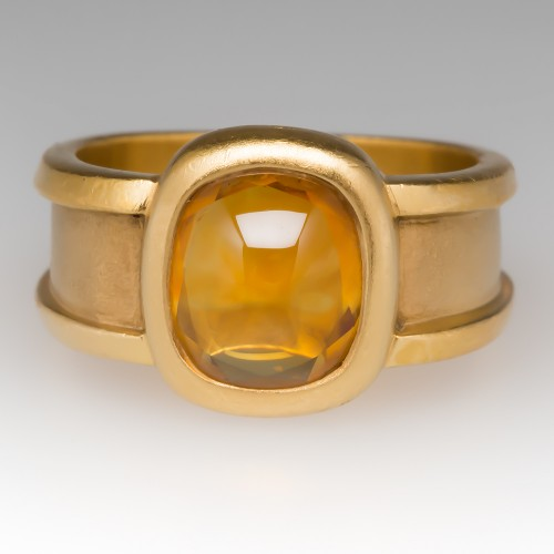 Custom Hand Made 22K Yellow Gold Citrine Ring