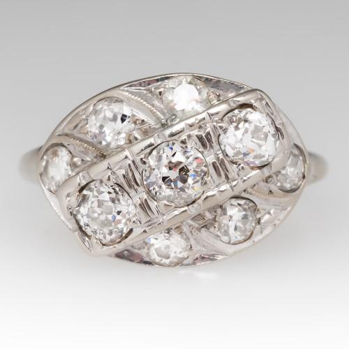 1940's Vintage Old Mine Cut Diamond Ring 14K White Gold
