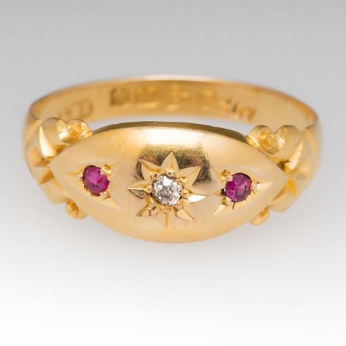c1900 Victorian Era Old Miner Diamond & Ruby Band Ring 18K Gold