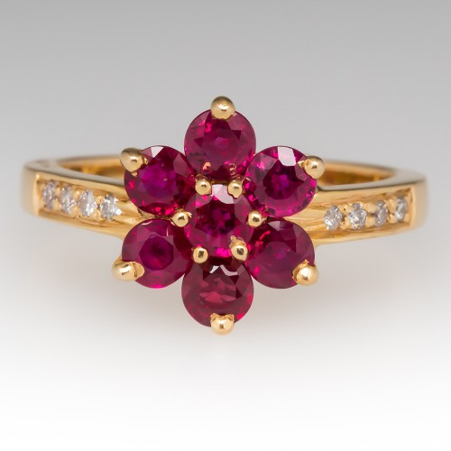 Flower Ruby & Diamond Ring 18K Yellow Gold