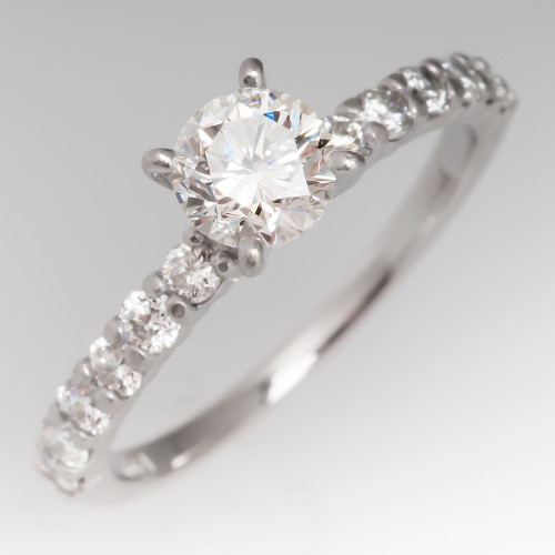 .71 Carat H/VS2 Round Diamond Platinum Ring w/ Brilliant Accents