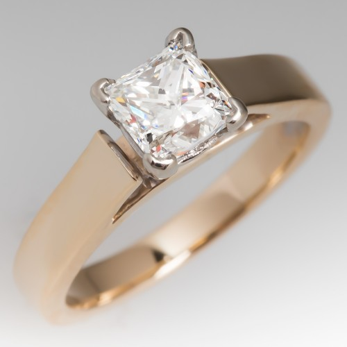 Princess Cut Diamond Solitaire Cathedral Ring 14K