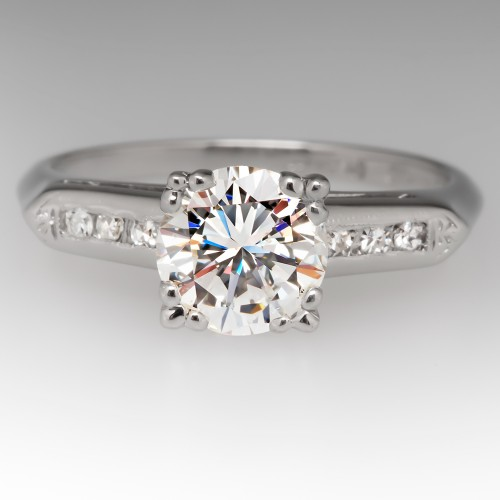 1.1 Carat Round Brilliant Diamond 1950's Vintage Platinum Ring