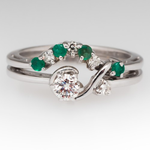 Diamond and Emerald 14K White Gold Eternal Love Wedding Set