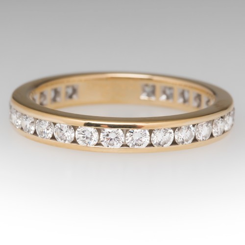 Tiffany Diamond Wedding Eternity Band 3mm 18K Gold $4875 Retail