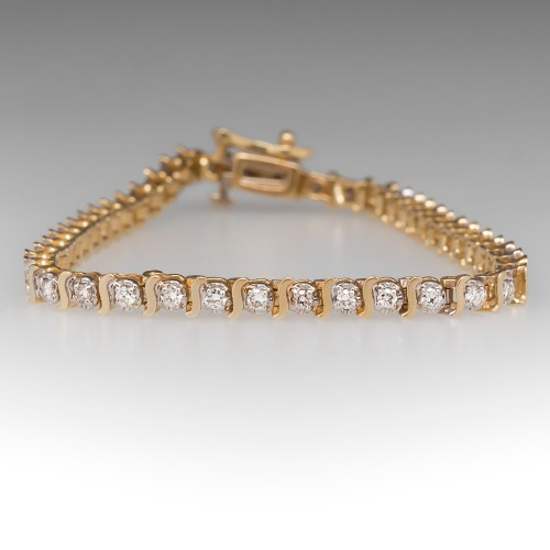 1/2 Carat Diamond Tennis Bracelet 14K Yellow Gold
