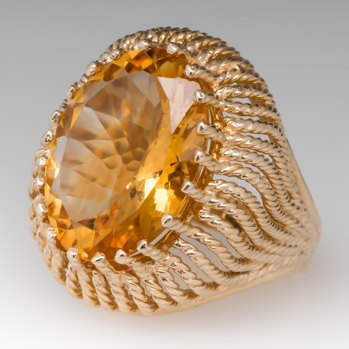 1970's Citrine Cocktail Ring 14K Gold 12 Carats
