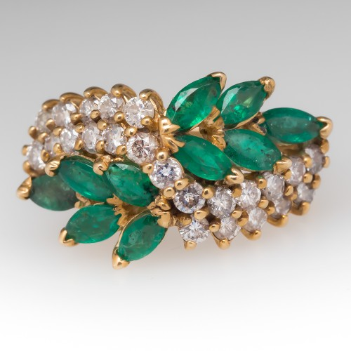 Floral Marquise Emerald & Diamond Vintage 14K Yellow Gold Ring