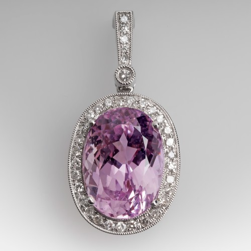 8 Carat Kunzite & Diamond Halo Enhancer Pendant 14K