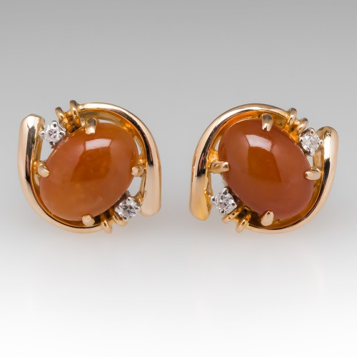 Vintage Orange Jade & Diamond Stud Earrings 14K
