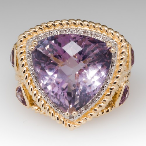 Large Checkerboard Top Amethyst Cocktail Ring 14K
