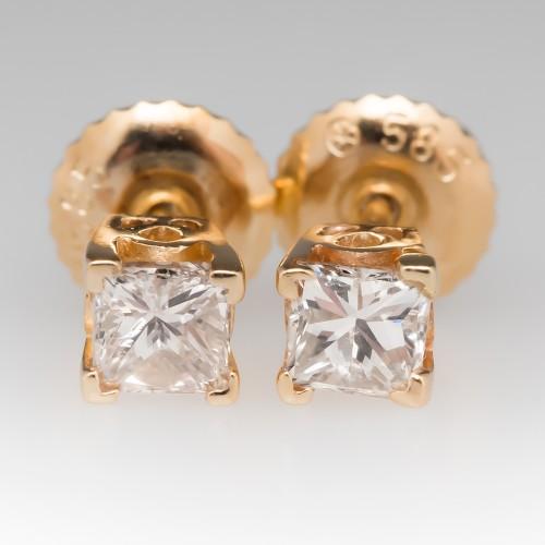 Princess Cut Diamond Stud Earrings 14K Yellow Gold .52CTW L-M / SI2-I1