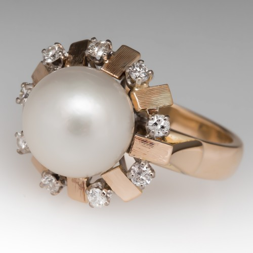 1960's Vintage Pearl Ring Diamond Halo 14K Gold