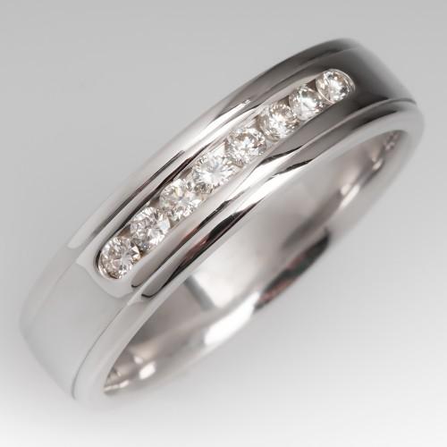 Mens Diamond Wedding Band 14K White Gold
