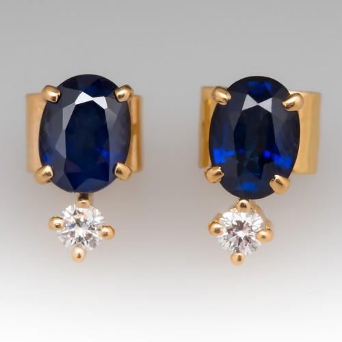 2 Carat Blue Sapphire Earrings With Diamonds in 18K Gold
