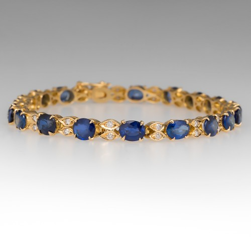 12.6 Carat Oval Blue Sapphire & Diamond 18K Yellow Gold Link Bracelet