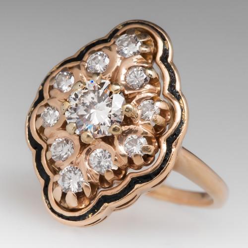 Vintage Diamond Cluster Ring w/ Black Enamel Details 14K