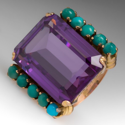 Bold Vintage Cocktail Ring Created Sapphire & Turquoise 20K Gold