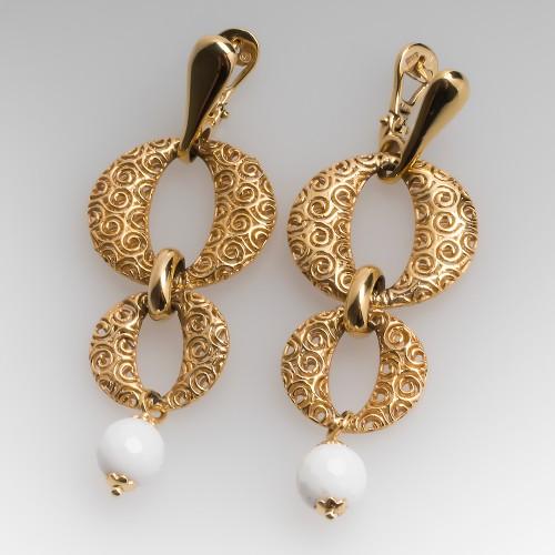 Openwork 14K Yellow Gold Drop Earrings w/ White Agate Beads