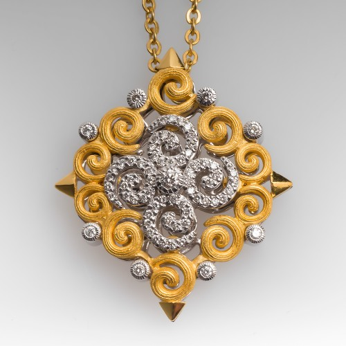Unique Openwork Diamond Pendant Necklace 18K & 22K Gold