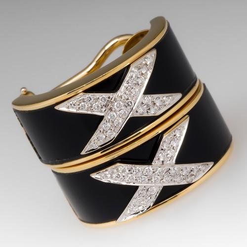 X Diamond & Onyx Earrings 18K Yellow Gold