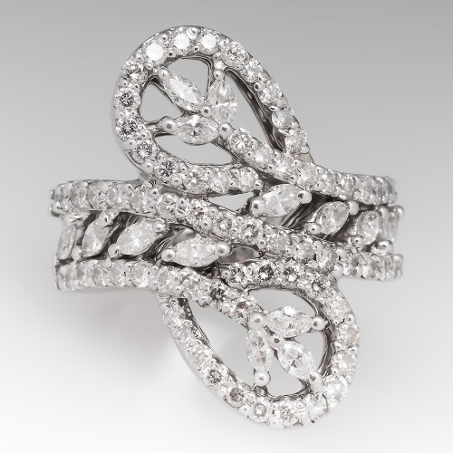 18K White Gold Diamond Cocktail Ring Marquise & Round Brilliant
