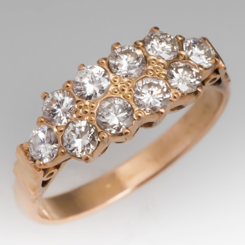 Vintage Diamond Anniversary Ring 18K Yellow Gold