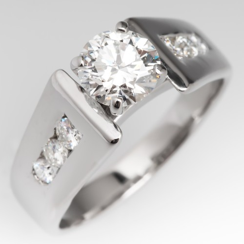 Modern Round Brilliant Diamond Engagement Ring 14K