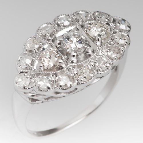 Low Profile 1950's Diamond Ring 14K White Gold w/ Milgrain Details