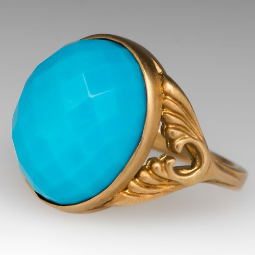 Carved 18K Yellow Gold Antique Turquoise Ring Checkerboard Facets