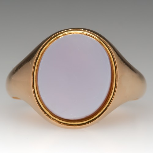 Unmonogrammed Signet Ring 18K Gold Vintage Low Profile