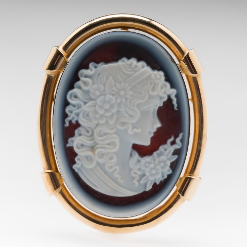 Carved Maiden Cameo Vintage Pendant Pin 14K Yellow Gold