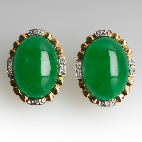 Vintage Dyed Jadeite Cabochon Earrings w/ Single Cut Diamond Accents 14K