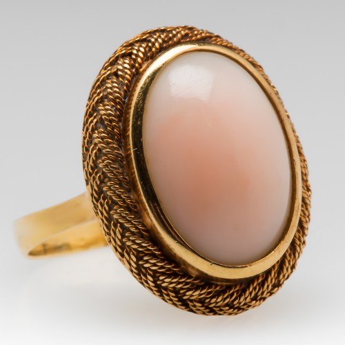 Vintage Angel Skin Coral Cocktail Ring 18K Woven Bezel