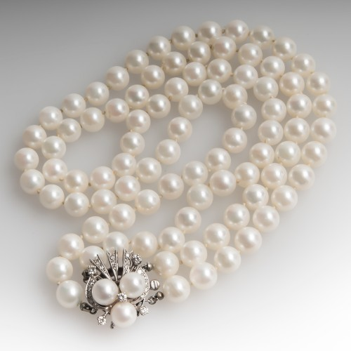 15-Inch Vintage Two Strand Pearl & Diamond Choker Necklace 14K White Gold