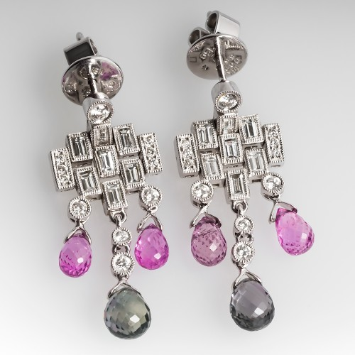 Pink & Green Sapphire Briolette Diamond Dangle Earrings 18K