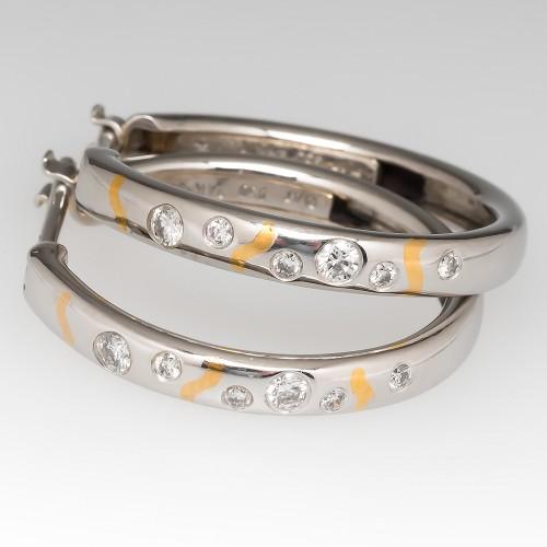 Flush Set Diamond Hoop Earrings Platinum & 24K