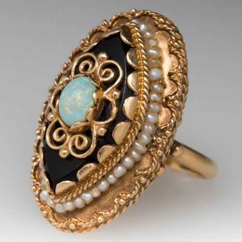 Vintage Cocktail Ring with Opal Onyx and Seed Pearls 14K Gold
