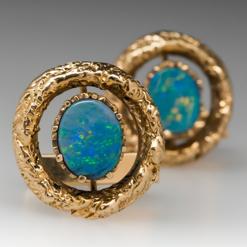 Vintage Mens Opal Triplet Cuff Links Set 14K Gold