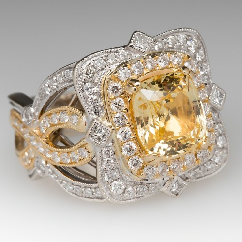 Detailed 3.5 Carat Yellow Sapphire & Diamond Ring 18K White & Rose Gold