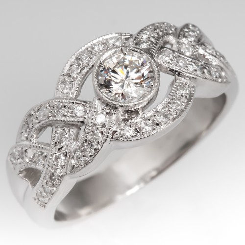 Ladies Platinum Round Brilliant Diamond Band Ring