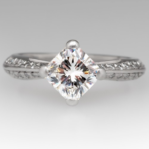 Square Radiant Cut Diamond Engagement Ring GIA F / VS2 Platinum