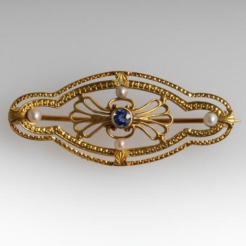 Antique Victorian Era Brooch Pin Sapphire & Pearls 18K Gold