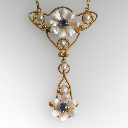Antique Pearl & Sapphire Necklace 14K Gold 1900's
