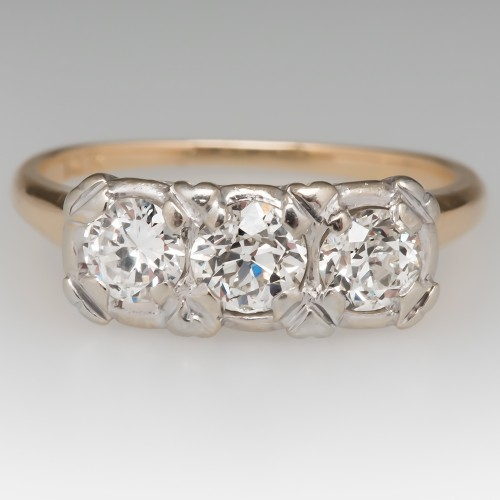 Three Stone Diamond 14K Two-Tone Gold Ring