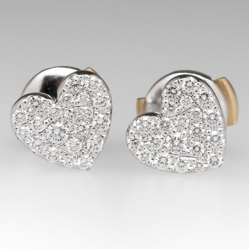 Tiffany Metro Heart Earrings In 18K White Gold, Retail $3000