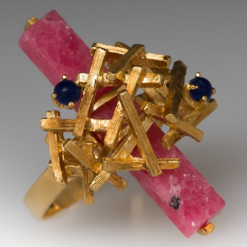Vintage Cocktail Ring Rhodochrosite & Lapis 18k Yellow Gold